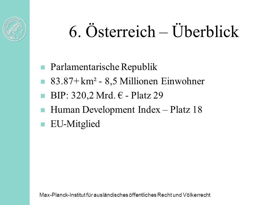6. Österreich – Überblick n Parlamentarische Republik n 83.87+ km² - 8,5 Millionen Einwohner n BIP: 320,2 Mrd. - Platz 29 n Human Development Index –