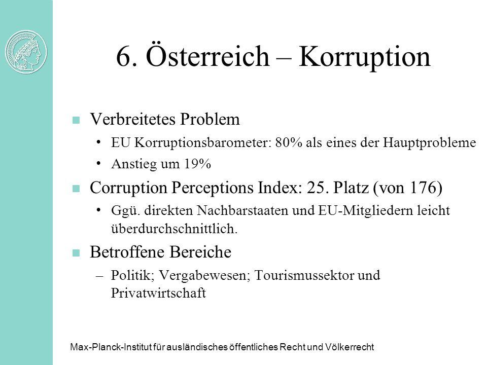 6. Österreich – Korruption n Verbreitetes Problem EU Korruptionsbarometer: 80% als eines der Hauptprobleme Anstieg um 19% n Corruption Perceptions Ind
