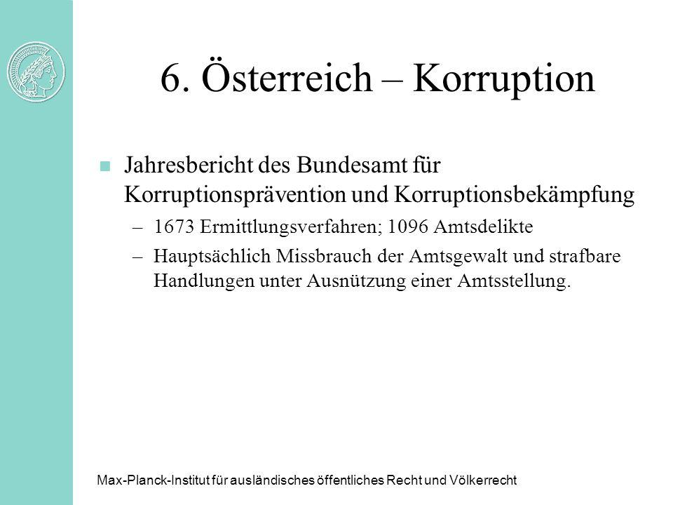 6. Österreich – Korruption n Jahresbericht des Bundesamt für Korruptionsprävention und Korruptionsbekämpfung –1673 Ermittlungsverfahren; 1096 Amtsdeli