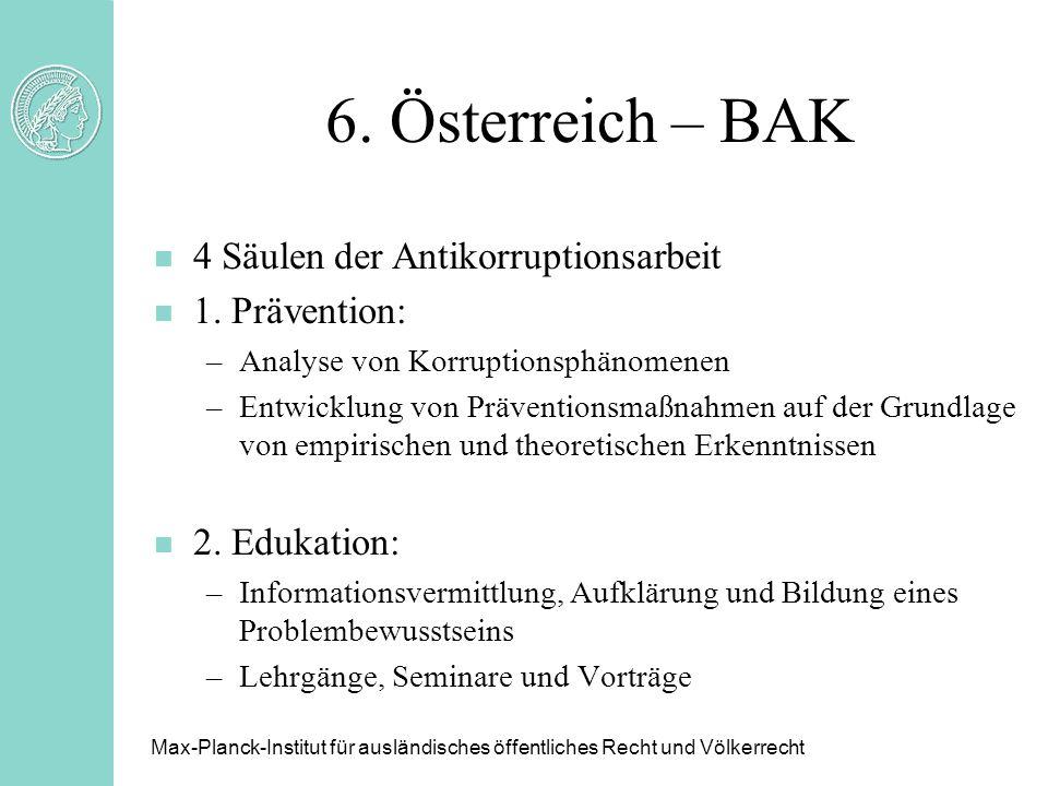 6. Österreich – BAK n 4 Säulen der Antikorruptionsarbeit n 1. Prävention: –Analyse von Korruptionsphänomenen –Entwicklung von Präventionsmaßnahmen auf