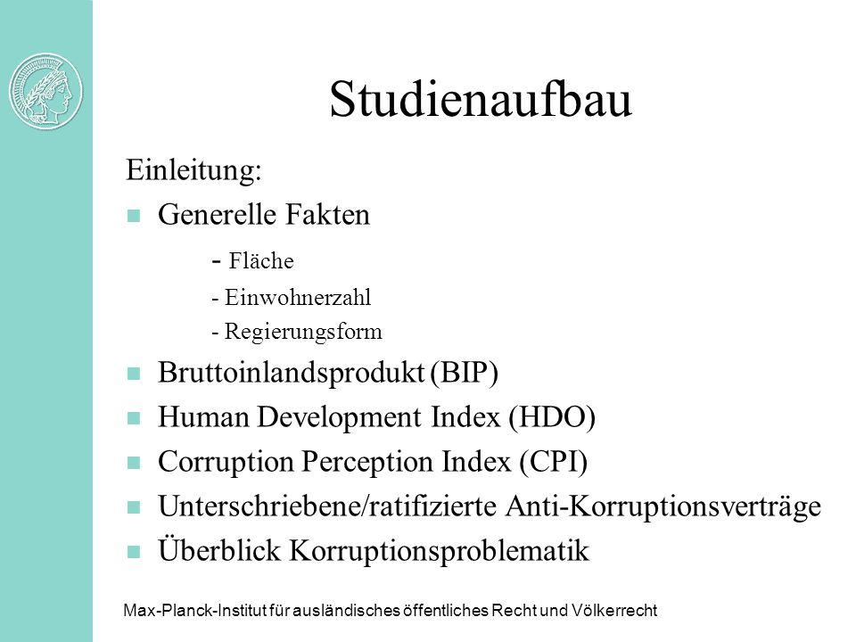 Studienaufbau Einleitung: n Generelle Fakten - Fläche - Einwohnerzahl - Regierungsform n Bruttoinlandsprodukt (BIP) n Human Development Index (HDO) n