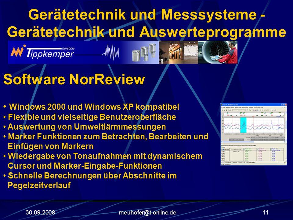 30.09.2008rneuhofer@t-online.de11 Gerätetechnik und Messsysteme - Gerätetechnik und Auswerteprogramme Software NorReview Windows 2000 und Windows XP k