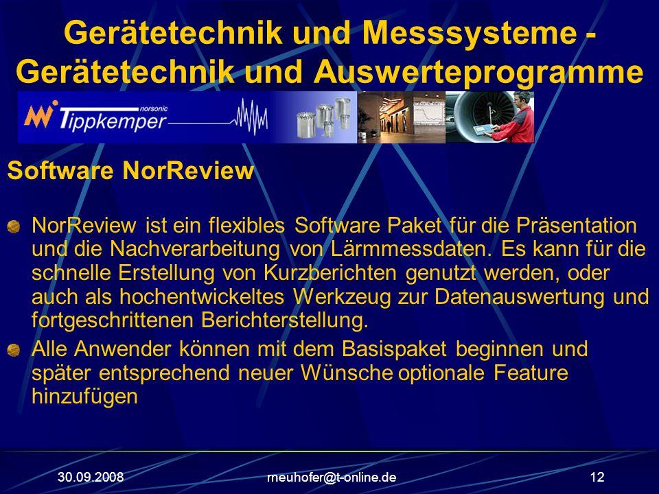 30.09.2008rneuhofer@t-online.de12 Gerätetechnik und Messsysteme - Gerätetechnik und Auswerteprogramme Software NorReview NorReview ist ein flexibles S