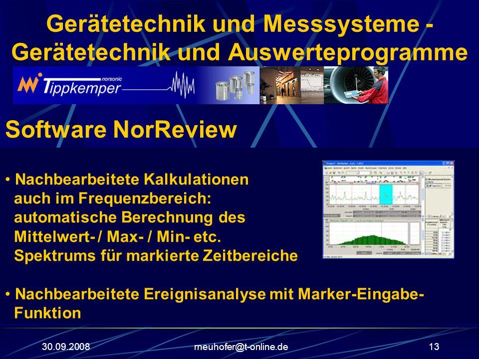30.09.2008rneuhofer@t-online.de13 Gerätetechnik und Messsysteme - Gerätetechnik und Auswerteprogramme Software NorReview Nachbearbeitete Kalkulationen