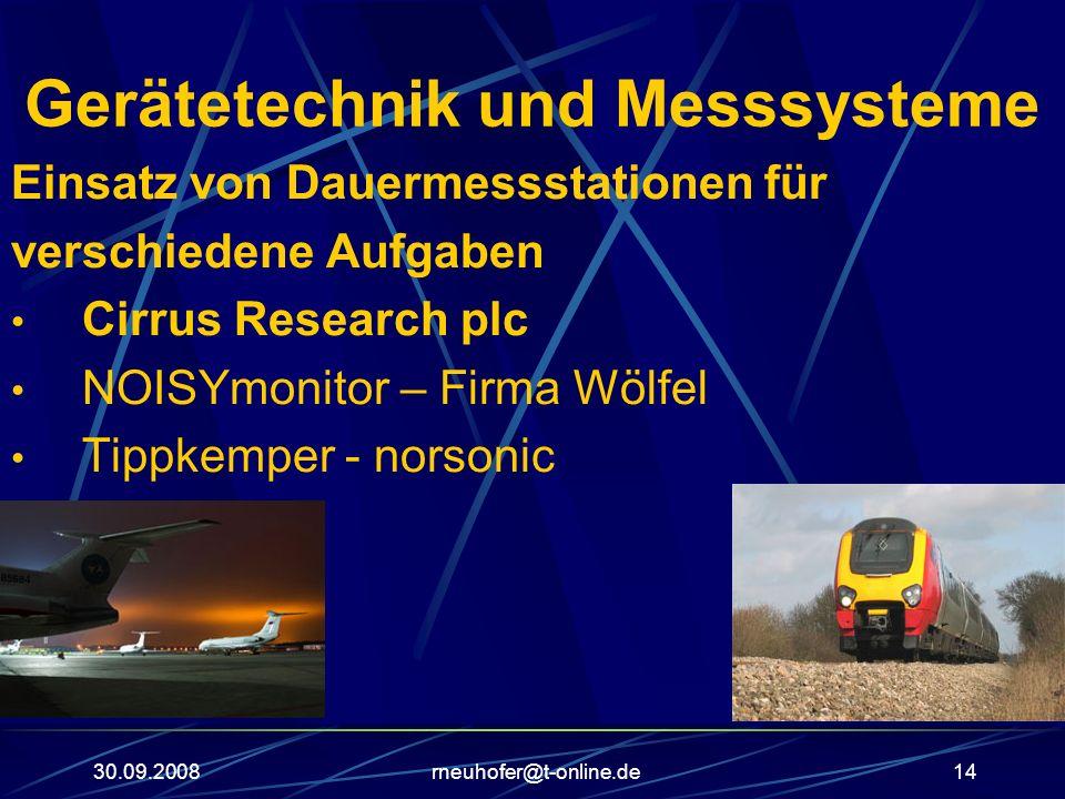 30.09.2008rneuhofer@t-online.de14 Gerätetechnik und Messsysteme Einsatz von Dauermessstationen für verschiedene Aufgaben Cirrus Research plc NOISYmoni