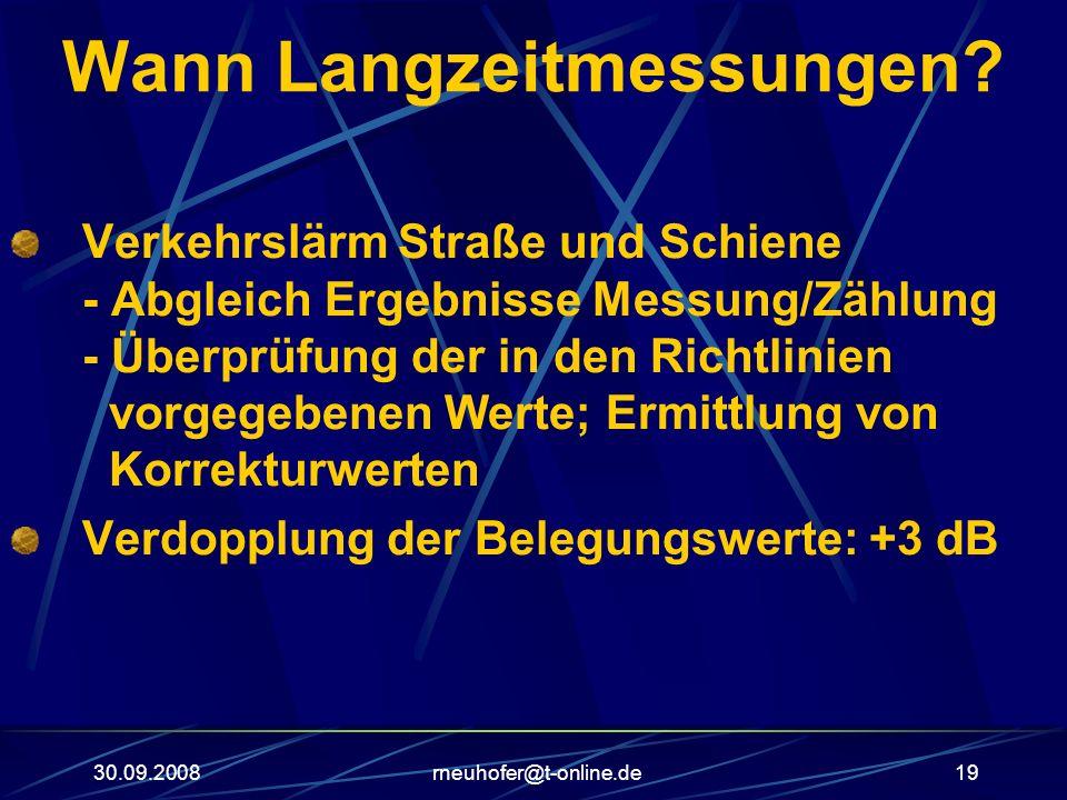 30.09.2008rneuhofer@t-online.de19 Wann Langzeitmessungen? Verkehrslärm Straße und Schiene - Abgleich Ergebnisse Messung/Zählung - Überprüfung der in d
