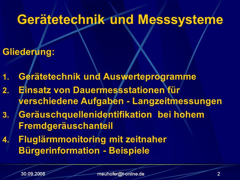 30.09.2008rneuhofer@t-online.de2 Gerätetechnik und Messsysteme Gliederung: 1. Gerätetechnik und Auswerteprogramme 2. Einsatz von Dauermessstationen fü