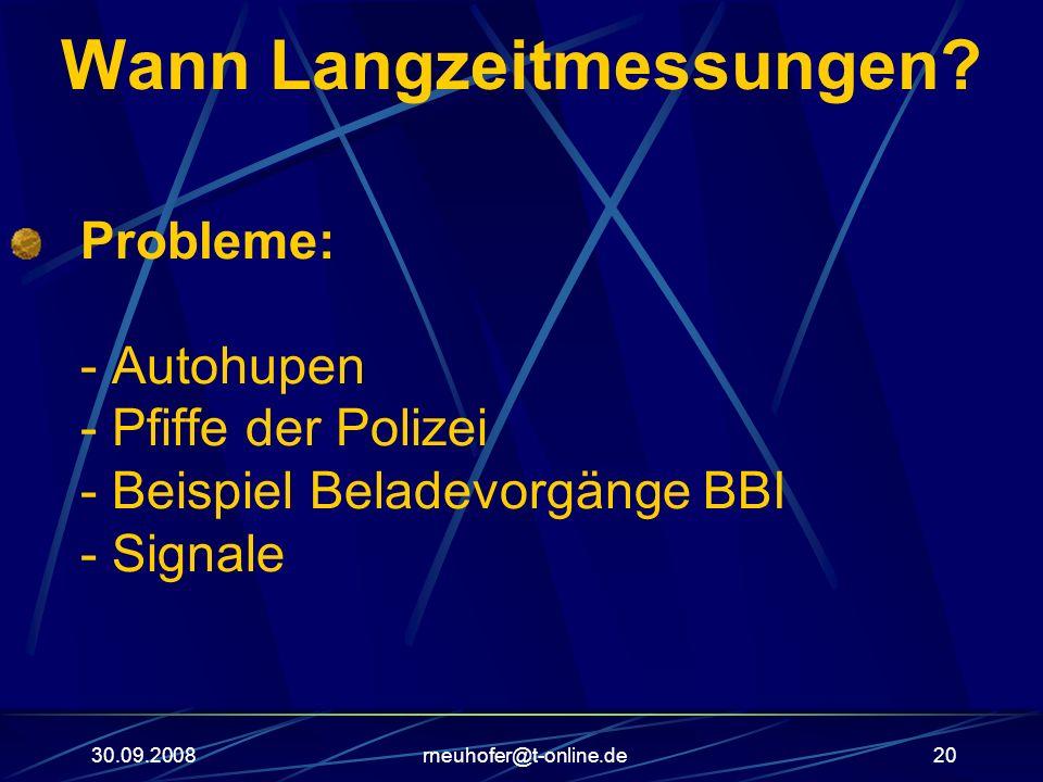 30.09.2008rneuhofer@t-online.de20 Wann Langzeitmessungen? Probleme: - Autohupen - Pfiffe der Polizei - Beispiel Beladevorgänge BBI - Signale
