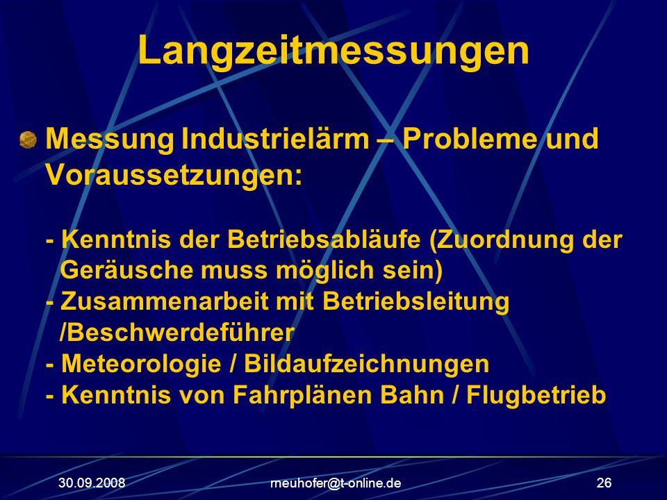 30.09.2008rneuhofer@t-online.de26 Langzeitmessungen Messung Industrielärm – Probleme und Voraussetzungen: - Kenntnis der Betriebsabläufe (Zuordnung de