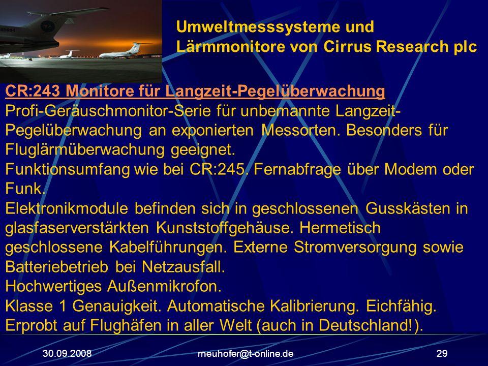 30.09.2008rneuhofer@t-online.de29 CR:243 Monitore für Langzeit-Pegelüberwachung Profi-Geräuschmonitor-Serie für unbemannte Langzeit- Pegelüberwachung
