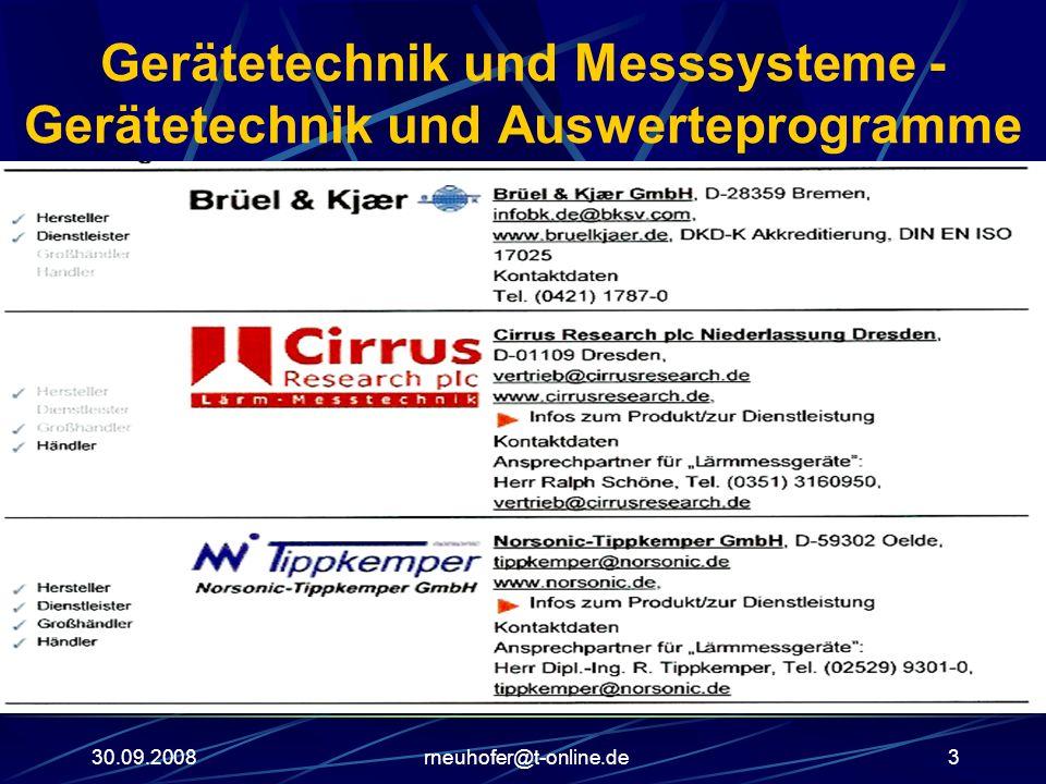 30.09.2008rneuhofer@t-online.de3 Gerätetechnik und Messsysteme - Gerätetechnik und Auswerteprogramme