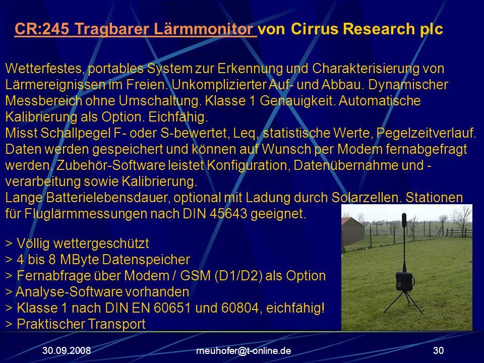 30.09.2008rneuhofer@t-online.de30 CR:245 Tragbarer Lärmmonitor CR:245 Tragbarer Lärmmonitor von Cirrus Research plc Wetterfestes, portables System zur