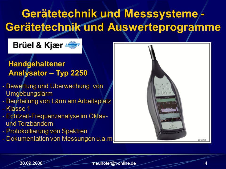 30.09.2008rneuhofer@t-online.de4 Gerätetechnik und Messsysteme - Gerätetechnik und Auswerteprogramme Handgehaltener Analysator – Typ 2250 - Bewertung