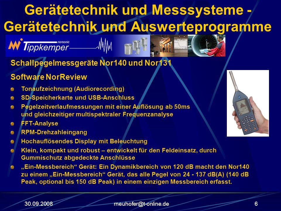 30.09.2008rneuhofer@t-online.de6 Gerätetechnik und Messsysteme - Gerätetechnik und Auswerteprogramme Schallpegelmessgeräte Nor140 und Nor131 Software