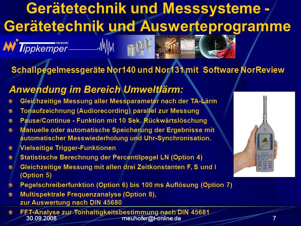 30.09.2008rneuhofer@t-online.de7 Gerätetechnik und Messsysteme - Gerätetechnik und Auswerteprogramme Schallpegelmessgeräte Nor140 und Nor131 mit Softw