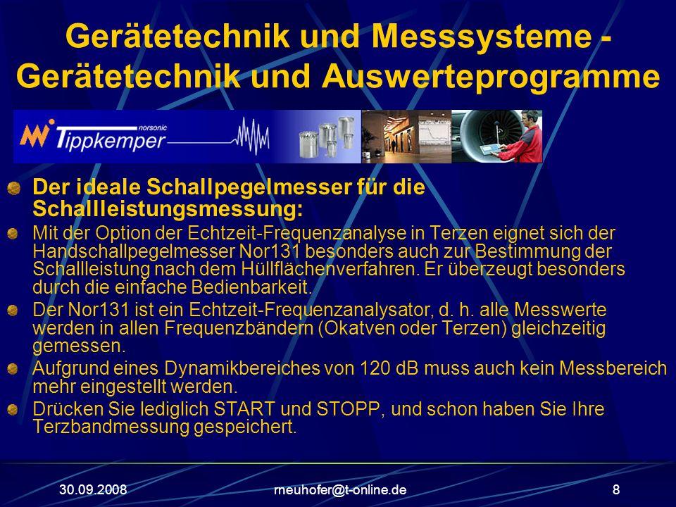 30.09.2008rneuhofer@t-online.de8 Gerätetechnik und Messsysteme - Gerätetechnik und Auswerteprogramme Der ideale Schallpegelmesser für die Schallleistu