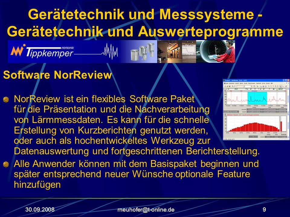 30.09.2008rneuhofer@t-online.de9 Gerätetechnik und Messsysteme - Gerätetechnik und Auswerteprogramme Software NorReview NorReview ist ein flexibles So