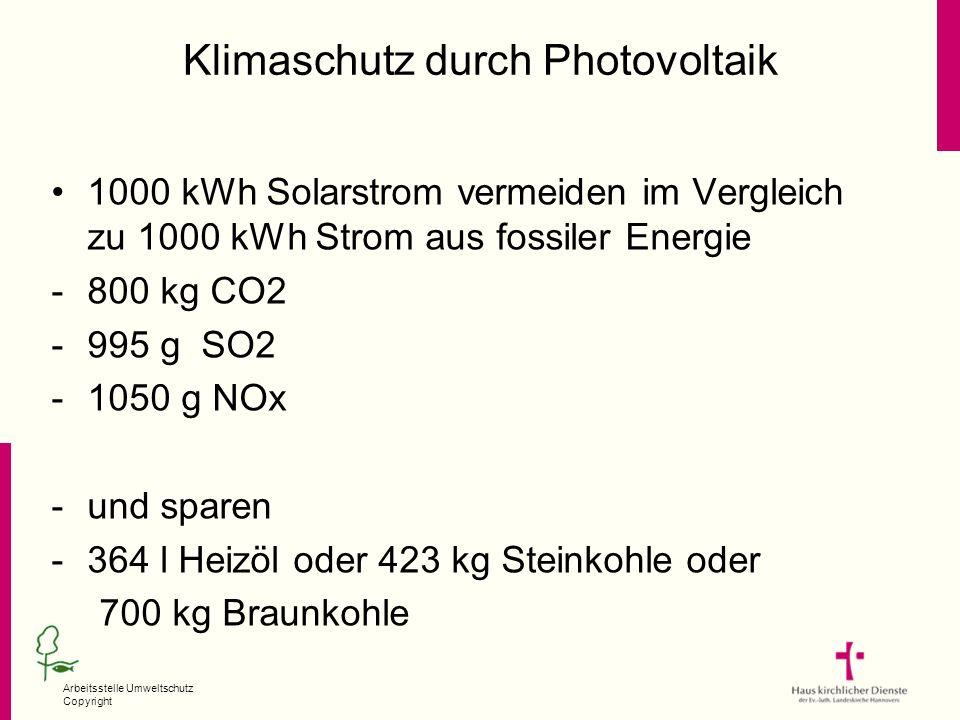 Arbeitsstelle Umweltschutz Copyright Klimaschutz durch Photovoltaik 1000 kWh Solarstrom vermeiden im Vergleich zu 1000 kWh Strom aus fossiler Energie