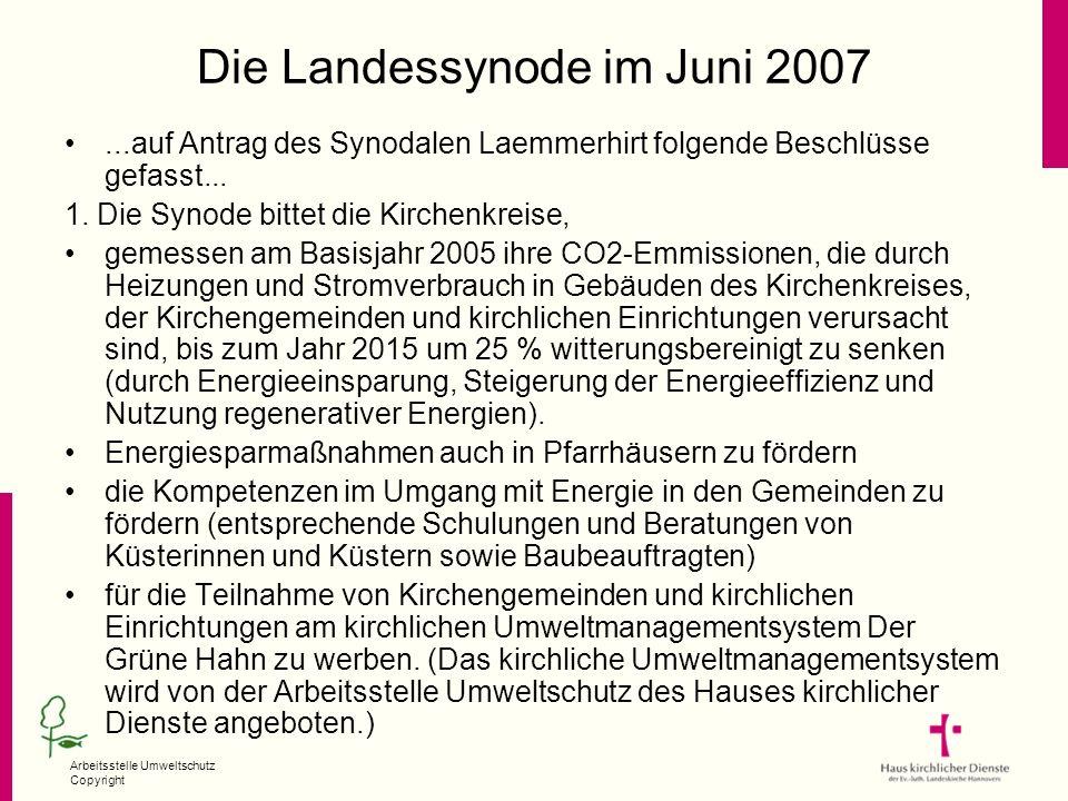 Arbeitsstelle Umweltschutz Copyright Die Landessynode im Juni 2007...auf Antrag des Synodalen Laemmerhirt folgende Beschlüsse gefasst... 1. Die Synode
