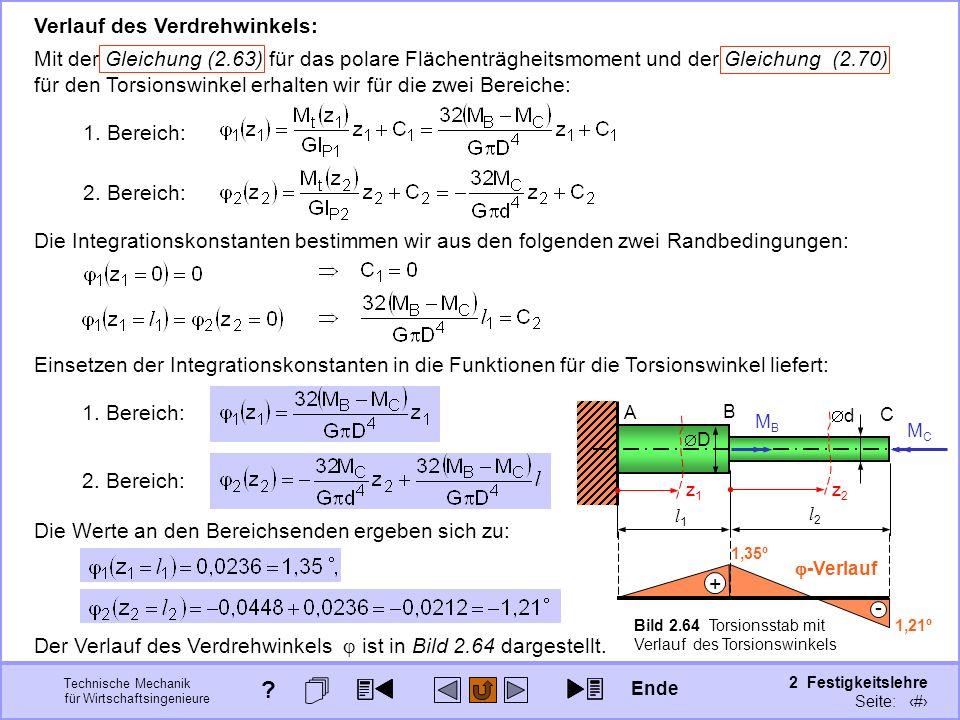Technische Mechanik für Wirtschaftsingenieure 2 Festigkeitslehre Seite: 249 Verlauf des Verdrehwinkels: Mit der Gleichung (2.63) für das polare Fläche