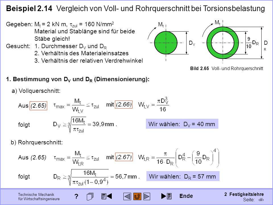Technische Mechanik für Wirtschaftsingenieure 2 Festigkeitslehre Seite: 250 Gegeben:M t = 2 kN m, zul = 160 N/mm 2 Material und Stablänge sind für bei