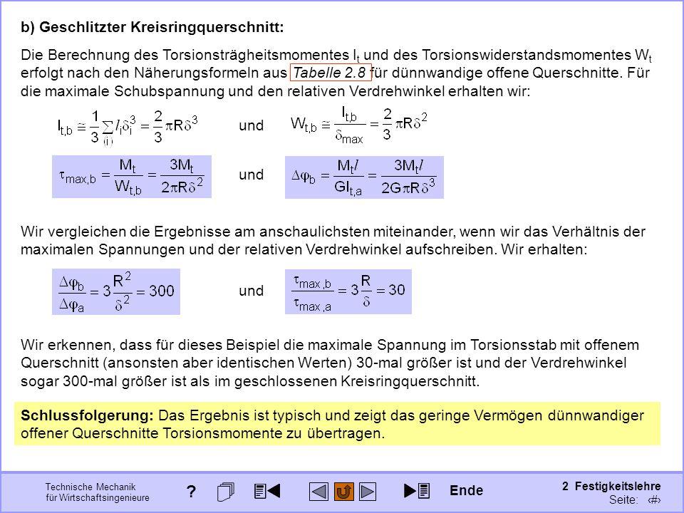 Technische Mechanik für Wirtschaftsingenieure 2 Festigkeitslehre Seite: 257 b) Geschlitzter Kreisringquerschnitt: Die Berechnung des Torsionsträgheits