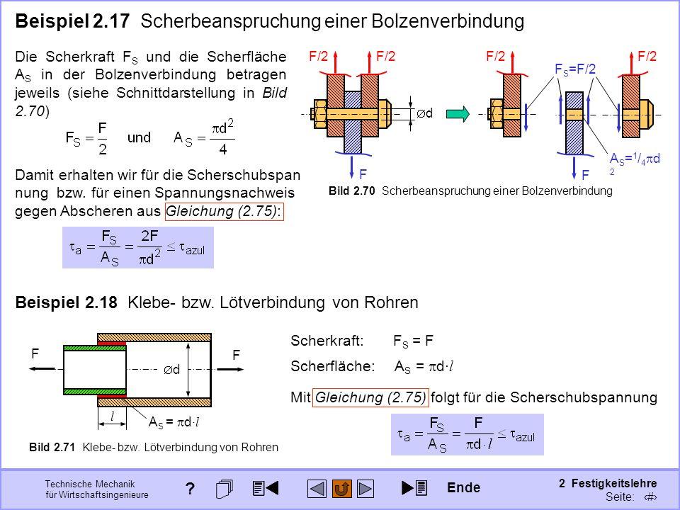 Technische Mechanik für Wirtschaftsingenieure 2 Festigkeitslehre Seite: 261 F/2 F d Die Scherkraft F S und die Scherfläche A S in der Bolzenverbindung