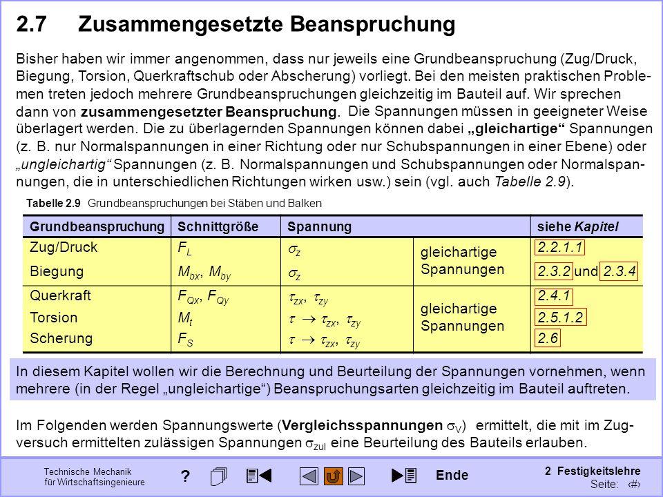 Technische Mechanik für Wirtschaftsingenieure 2 Festigkeitslehre Seite: 263 2.7Zusammengesetzte Beanspruchung Bisher haben wir immer angenommen, dass