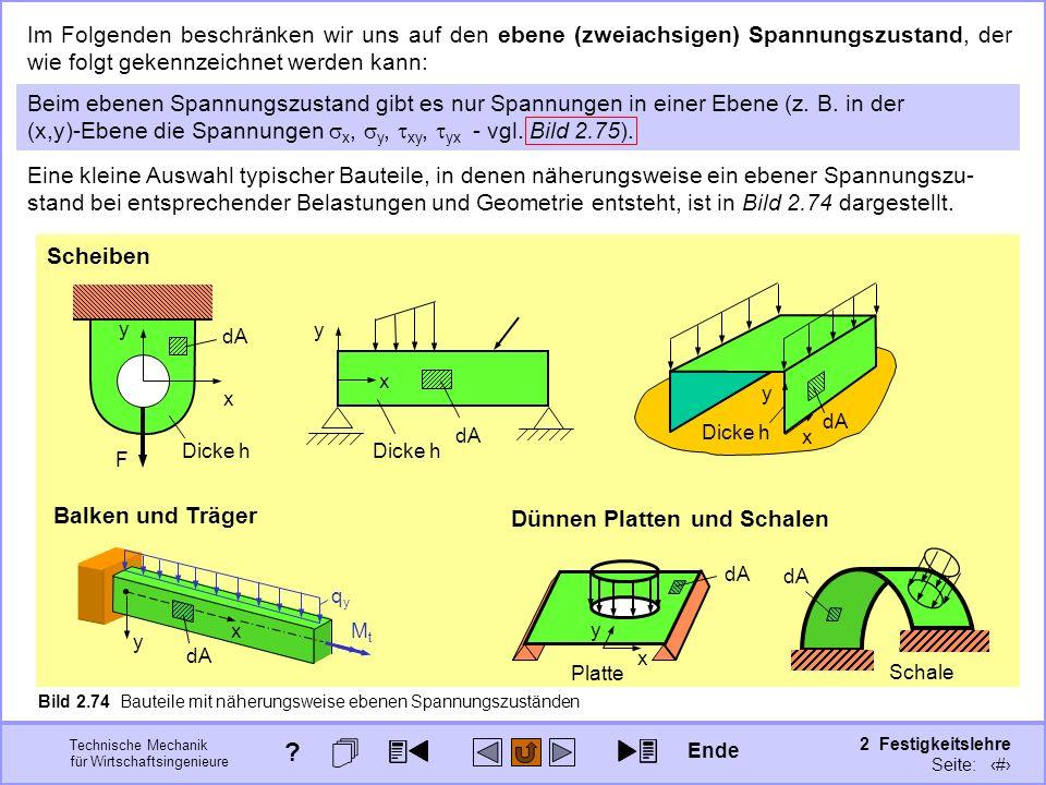Technische Mechanik für Wirtschaftsingenieure 2 Festigkeitslehre Seite: 266 Bild 2.74 Bauteile mit näherungsweise ebenen Spannungszuständen Im Folgend