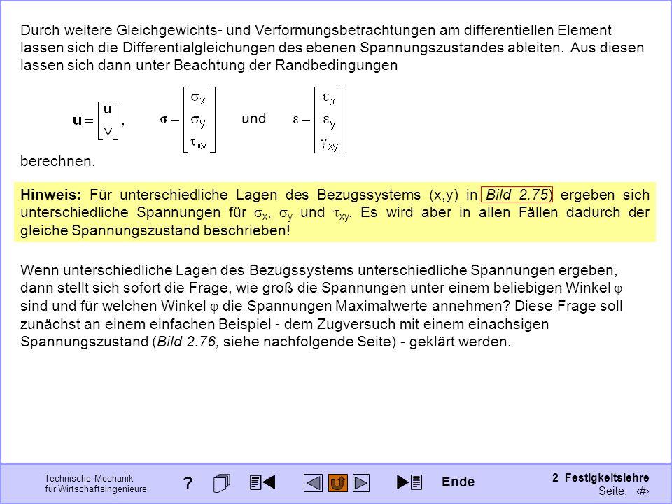 Technische Mechanik für Wirtschaftsingenieure 2 Festigkeitslehre Seite: 268 Durch weitere Gleichgewichts- und Verformungsbetrachtungen am differentiel