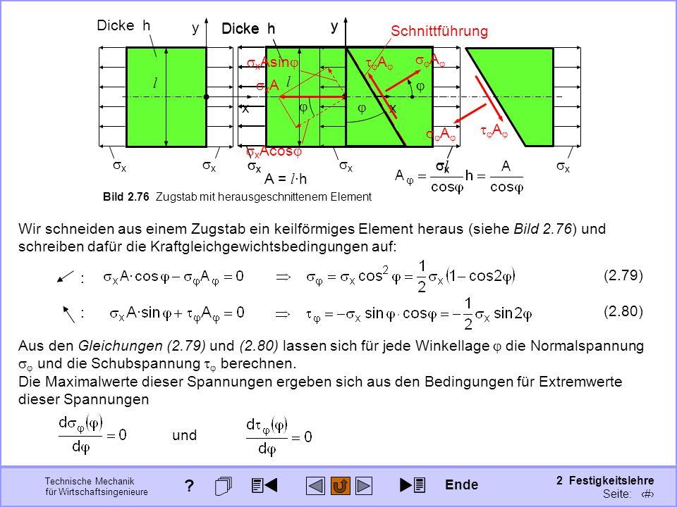 Technische Mechanik für Wirtschaftsingenieure 2 Festigkeitslehre Seite: 269 y l l x Dicke h x x y l l x x x Schnittführung Bild 2.76 Zugstab mit herau