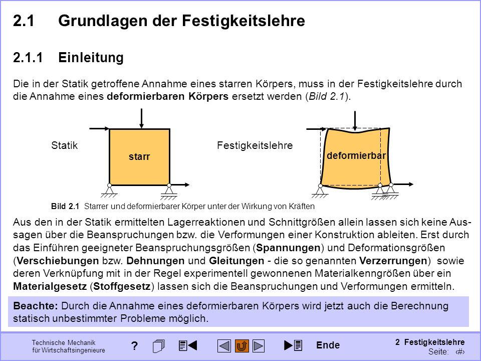 Technische Mechanik für Wirtschaftsingenieure 2 Festigkeitslehre Seite: 162 2.1Grundlagen der Festigkeitslehre 2.1.1Einleitung deformierbar Festigkeit