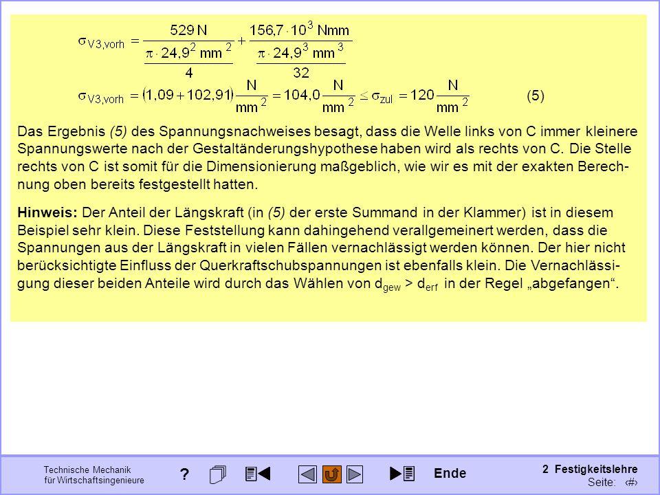 Technische Mechanik für Wirtschaftsingenieure 2 Festigkeitslehre Seite: 284 Hinweis: Der Anteil der Längskraft (in (5) der erste Summand in der Klamme