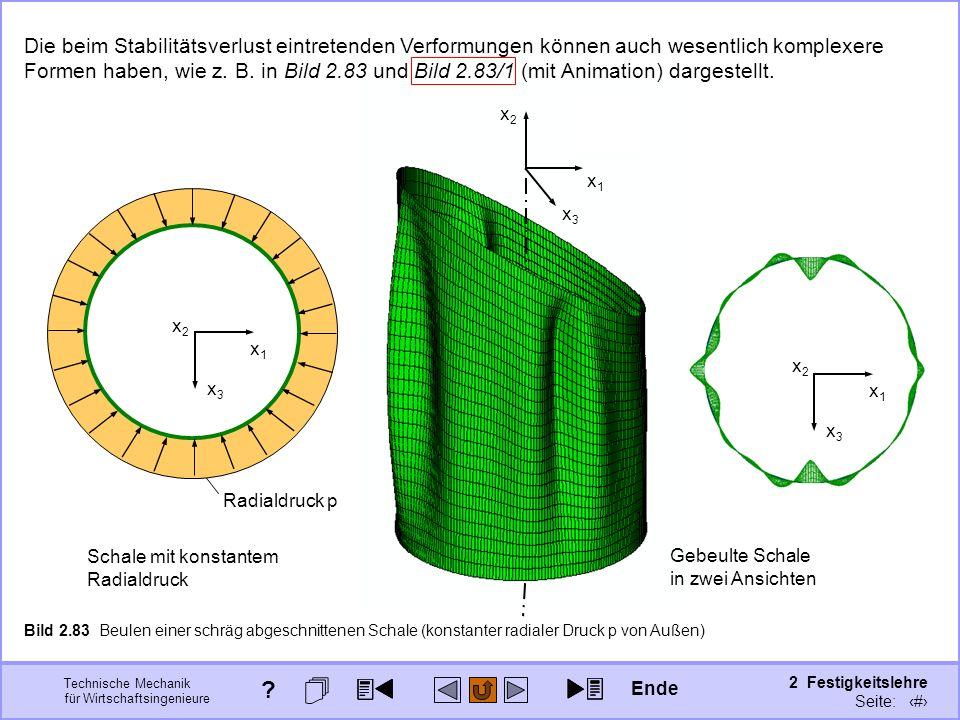 Technische Mechanik für Wirtschaftsingenieure 2 Festigkeitslehre Seite: 286 Bild 2.83 Beulen einer schräg abgeschnittenen Schale (konstanter radialer