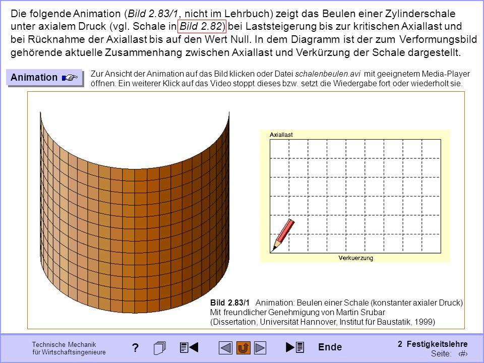 Technische Mechanik für Wirtschaftsingenieure 2 Festigkeitslehre Seite: 287 Die folgende Animation (Bild 2.83/1, nicht im Lehrbuch) zeigt das Beulen e