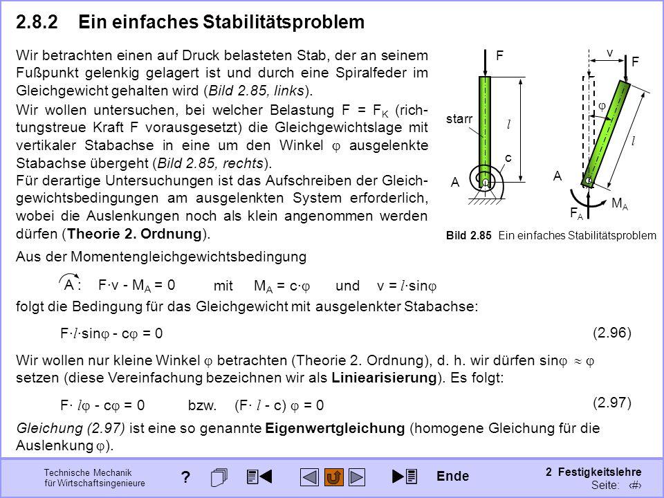 Technische Mechanik für Wirtschaftsingenieure 2 Festigkeitslehre Seite: 290 2.8.2Ein einfaches Stabilitätsproblem F A c l starr A l v F FAFA MAMA Bild