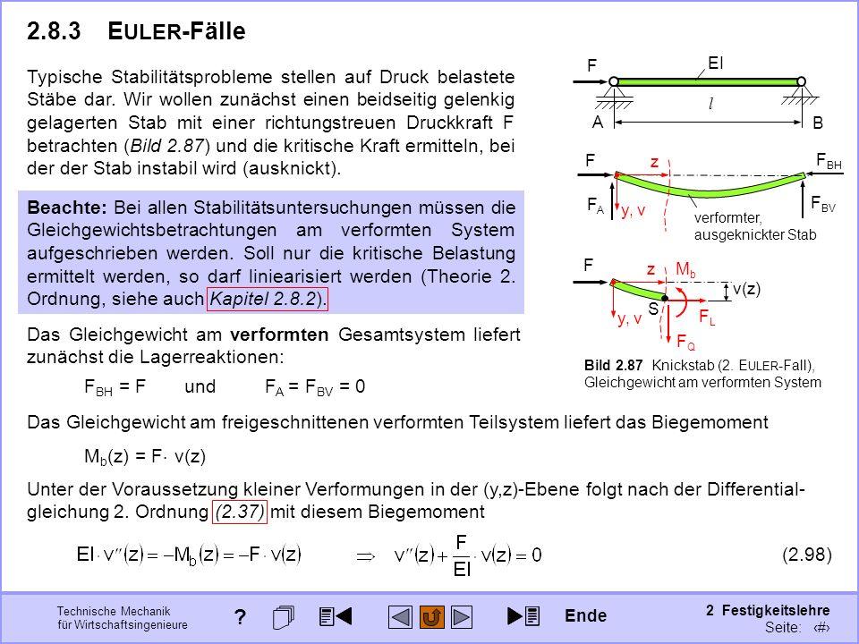 Technische Mechanik für Wirtschaftsingenieure 2 Festigkeitslehre Seite: 293 F A B l EIEI F F BV F BH FAFA verformter, ausgeknickter Stab z y, v F FQFQ