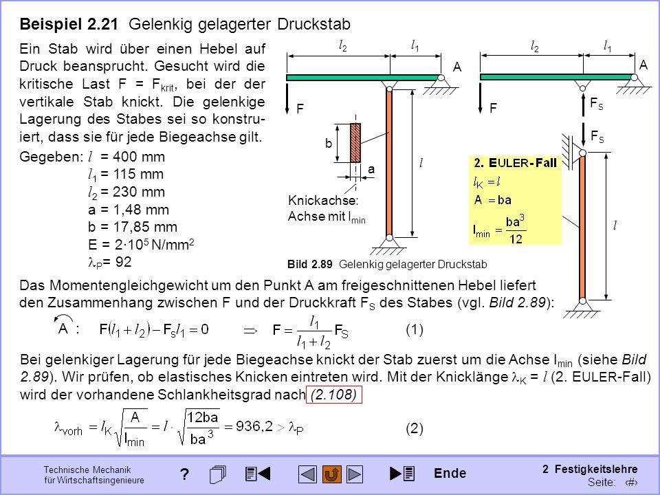 Technische Mechanik für Wirtschaftsingenieure 2 Festigkeitslehre Seite: 298 F A l2l2 l1l1 FSFS l FSFS Beispiel 2.21 Gelenkig gelagerter Druckstab Bild