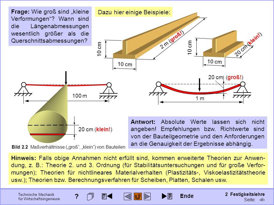 Technische Mechanik für Wirtschaftsingenieure 2 Festigkeitslehre Seite: 165 Hinweis: Falls obige Annahmen nicht erfüllt sind, kommen erweiterte Theori