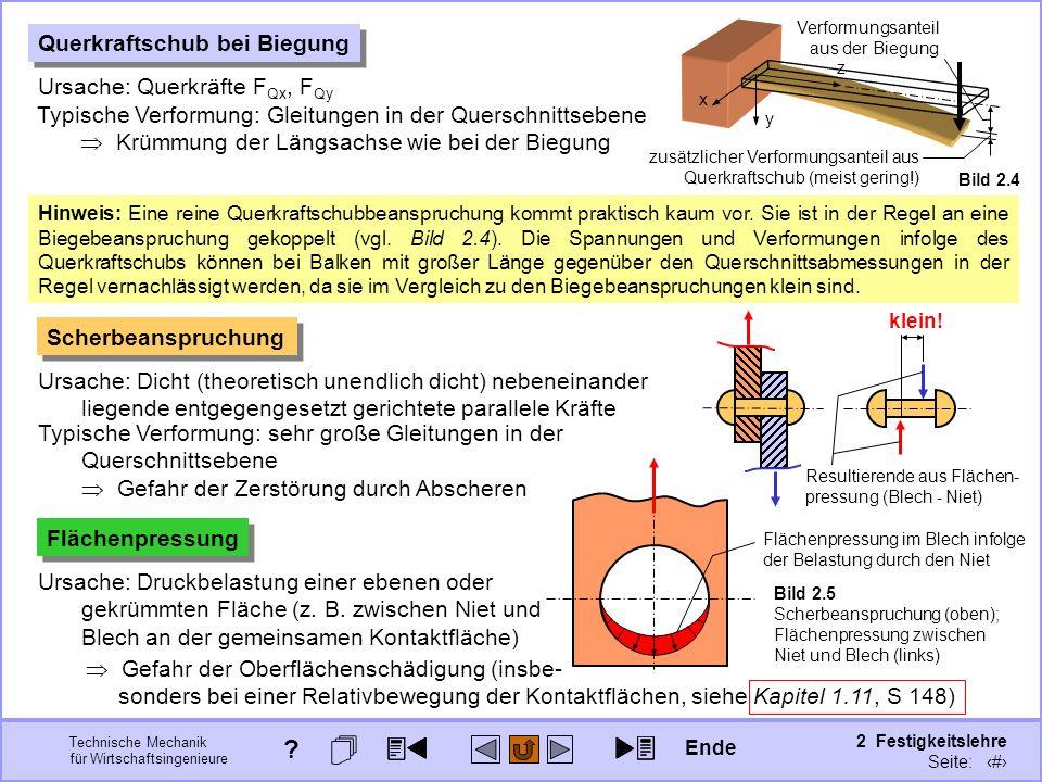 Technische Mechanik für Wirtschaftsingenieure 2 Festigkeitslehre Seite: 167 Querkraftschub bei Biegung Ursache: Querkräfte F Qx, F Qy Typische Verform