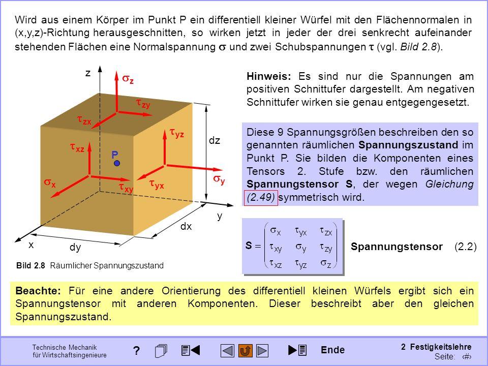 Technische Mechanik für Wirtschaftsingenieure 2 Festigkeitslehre Seite: 170 x z y P dx dy dz Bild 2.8 Räumlicher Spannungszustand Wird aus einem Körpe