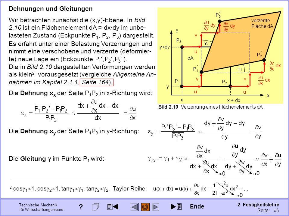 Technische Mechanik für Wirtschaftsingenieure 2 Festigkeitslehre Seite: 172 Die in Bild 2.10 dargestellten Verformungen werden als klein 2 vorausgeset