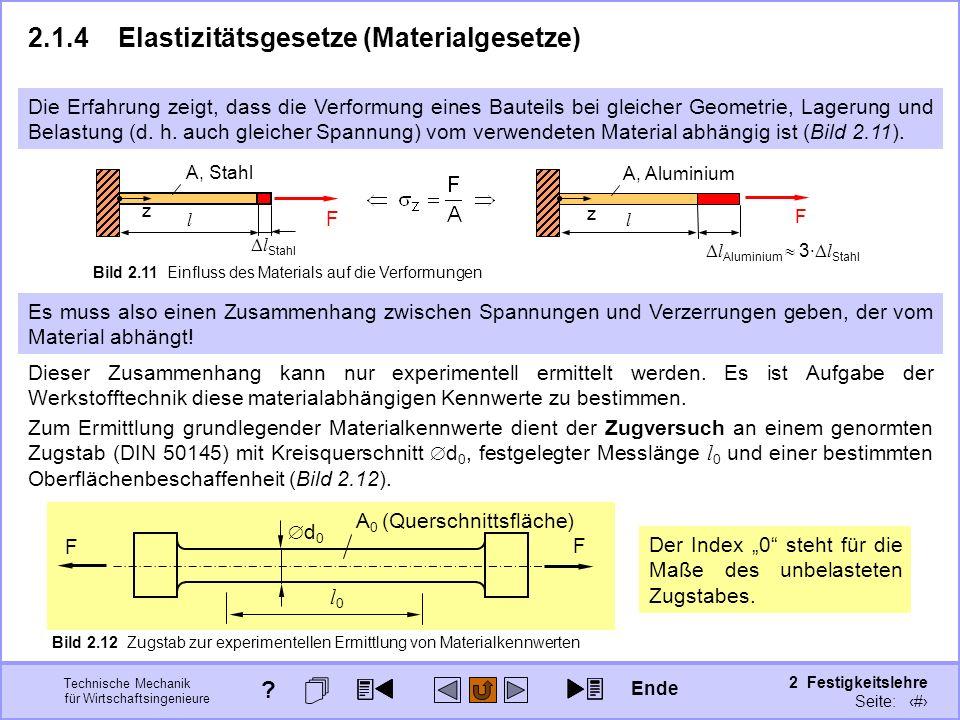 Technische Mechanik für Wirtschaftsingenieure 2 Festigkeitslehre Seite: 174 F l Aluminium 3 · l Stahl F l Stahl 2.1.4Elastizitätsgesetze (Materialgese