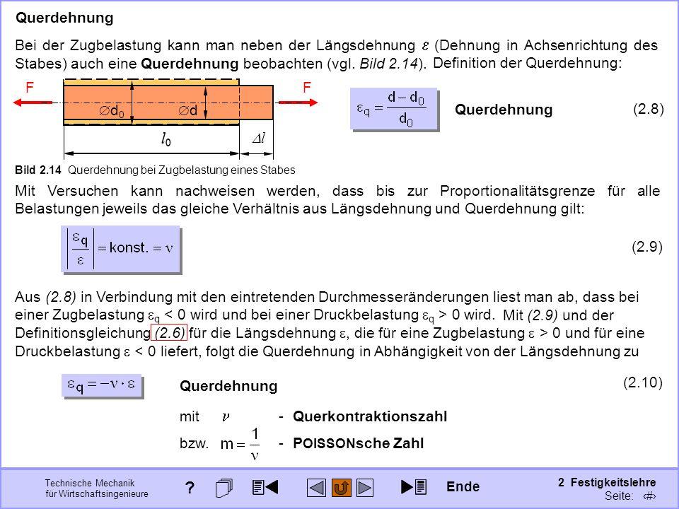 Technische Mechanik für Wirtschaftsingenieure 2 Festigkeitslehre Seite: 177 Mit (2.9) und der Definitionsgleichung (2.6) für die Längsdehnung, die für