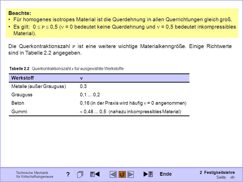 Technische Mechanik für Wirtschaftsingenieure 2 Festigkeitslehre Seite: 178 Die Querkontraktionszahl ist eine weitere wichtige Materialkenngröße. Eini