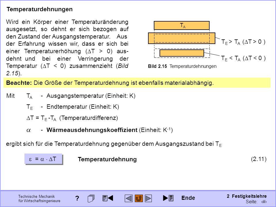 Technische Mechanik für Wirtschaftsingenieure 2 Festigkeitslehre Seite: 179 Temperaturdehnungen MitT A -Ausgangstemperatur (Einheit: K) T E -Endtemper