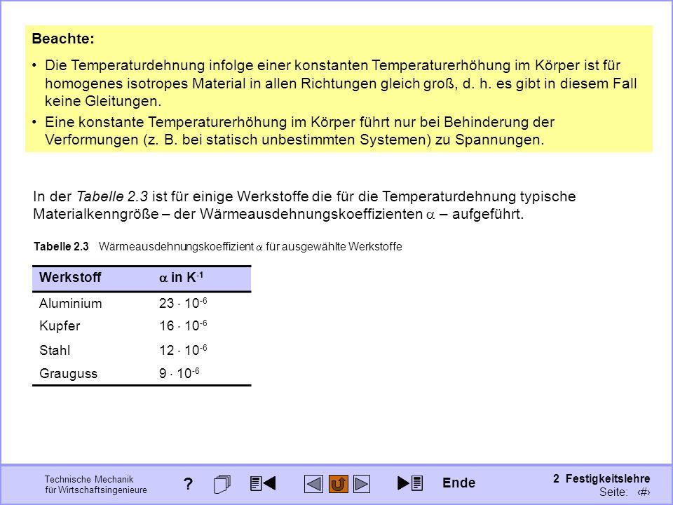 Technische Mechanik für Wirtschaftsingenieure 2 Festigkeitslehre Seite: 180 Beachte: Die Temperaturdehnung infolge einer konstanten Temperaturerhöhung