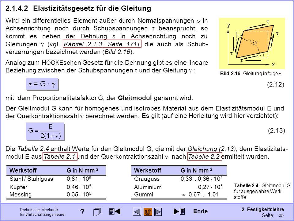 Technische Mechanik für Wirtschaftsingenieure 2 Festigkeitslehre Seite: 181 Die Tabelle 2.4 enthält Werte für den Gleitmodul G, die mit der Gleichung