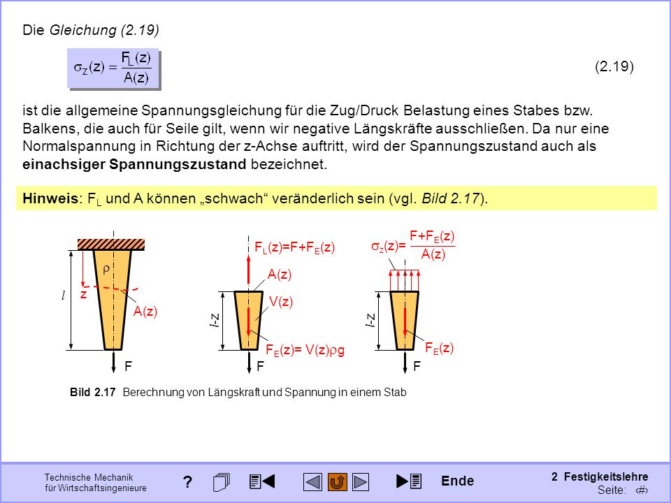 Technische Mechanik für Wirtschaftsingenieure 2 Festigkeitslehre Seite: 185 l F Bild 2.17 Berechnung von Längskraft und Spannung in einem Stab l -z A(