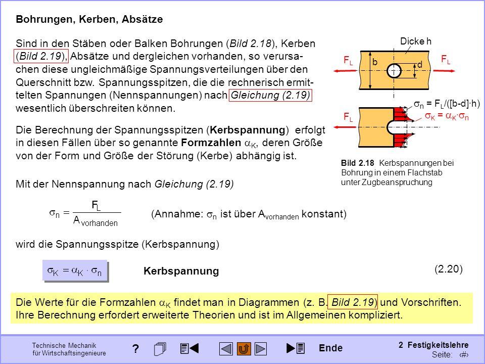 Technische Mechanik für Wirtschaftsingenieure 2 Festigkeitslehre Seite: 186 K = K · n Bohrungen, Kerben, Absätze Bild 2.18 Kerbspannungen bei Bohrung